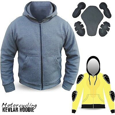 Motorcycle Hoodie Hoody Fully Kevlar Armored Lined Fleece Protection GREY