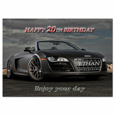c314; Large Personalised Birthday card; Custom made for any name; Audi R8 Spyder