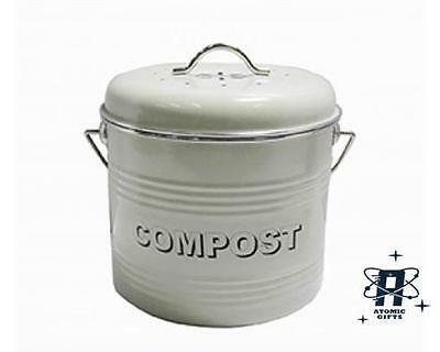New Vintage Style Retro Enamel Sage Large Kitchen Compost Tin Bin Container