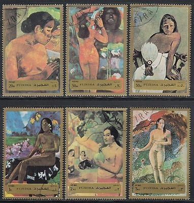 Fujeira 1972 Mi.1272/77 A used c.t.o. Gemälde Paintings Akte Nudes Gauguin