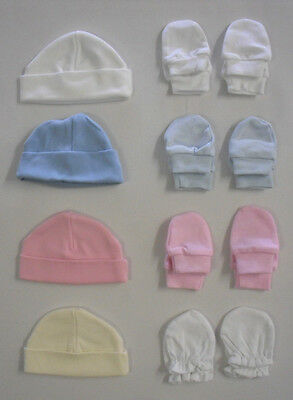 Baby Babies Girls Boys Gloves Mittens Scratch Mits Newborn Plain Cotton Hat Cap