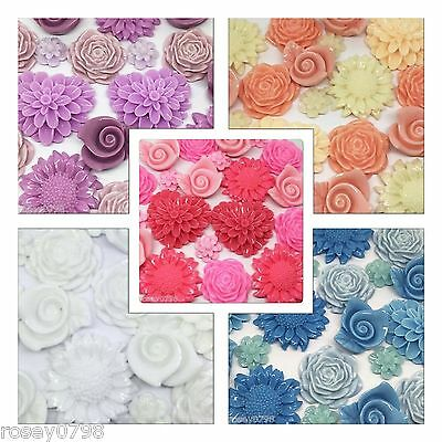20 x Random Mix Bag of Colour Themed Resin Cabochons Embellishments for Craft