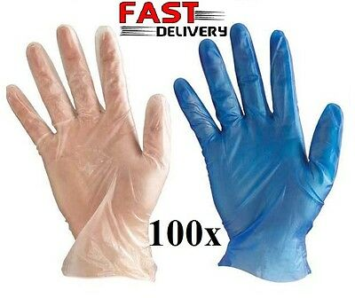 Safe Touch Medical Grade Powder Free Disposable Clear Blue Vinyl Gloves