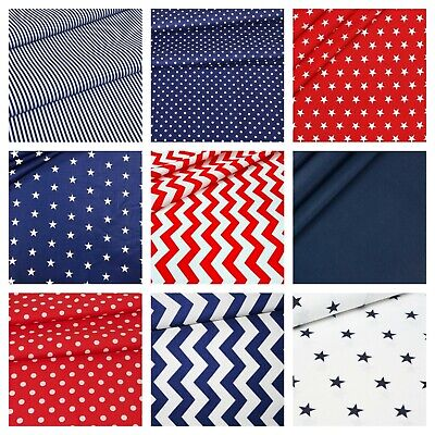 ALL NEW BLUE & RED 100% COTTON FABRIC by the metre CHEVRON ,STRIPES , STARS