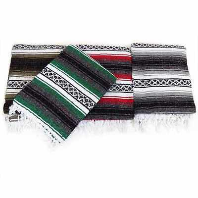 """NEW Large Hand Woven Mexican Blanket Color Yoga Mat Authentic Full Size 71 x 55"""""""