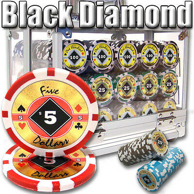 NEW 600 PC Black Diamond 14 Gram Clay Poker Chips Set Acrylic Case Pick Chips