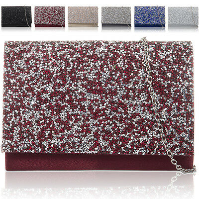 New Satin Women Clutch Bag Bridal Glitter Shinny Ladies Evening Party Prom Bride