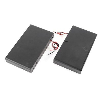 2 Pcs 8 x AA 12V Battery Holder Case Box Wired ON/OFF Switch w Cover BF