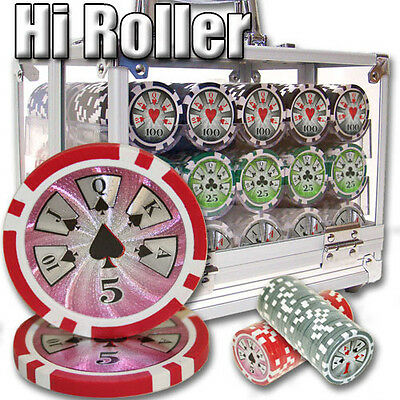 NEW 600 PC High Roller 14 Gram Clay Poker Chips Acrylic Carrier Set Pick Chips