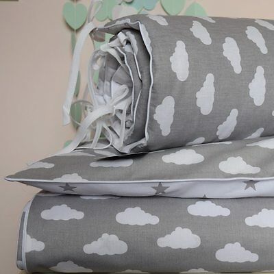 100%COTTON Cot Bed Duvet Cover Set Girls Boys Grey Clouds Stars white  piping