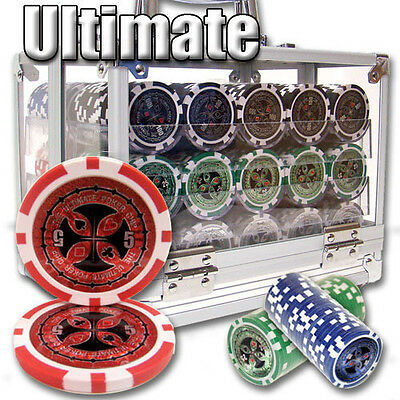 NEW 600 PC Ultimate 14 Gram Clay Poker Chips Set Acrylic Case Select Your Chips