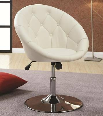 White Tufted Faux Leather Adjustable Height Swivel Chair by Coaster 102583