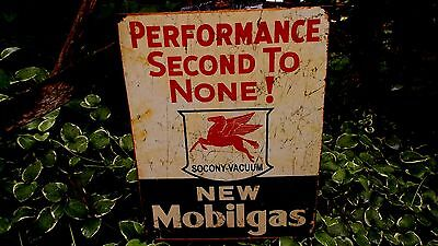 Mobil Gas Gasoline Automotive Oil Collectible Tin Metal Advertising Sign Signs