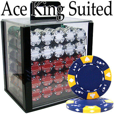 NEW 1000 Ace King 14 Gram Clay Suited Poker Chips Set Acrylic Case Pick Chips
