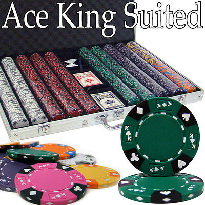 NEW 1000 Ace King 14 Gram Clay Suited Poker Chips Set Aluminum Case Pick Chips