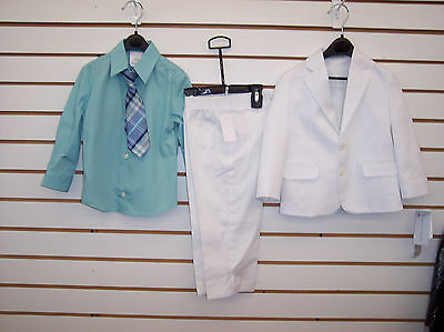Toddler Boys $85.00 Geoffrey Beene White & Seafoam 4-Pc. Suit Size 2T - 4T