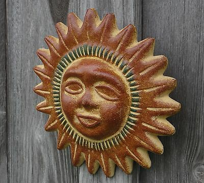 """Mexican Pottery  9"""" Traditional Clay Sun Sol Wall Decor Inside/out"""