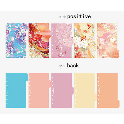 5Pcs A6 Flowers Index Multi-Coloured Tabs Divider Insert Refill Organiser Notes