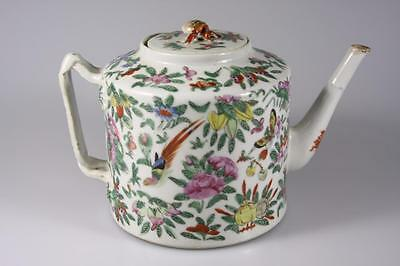 Antique Chinese Qing Dynasty Famille Rose Cantong Hand Painted Teapot