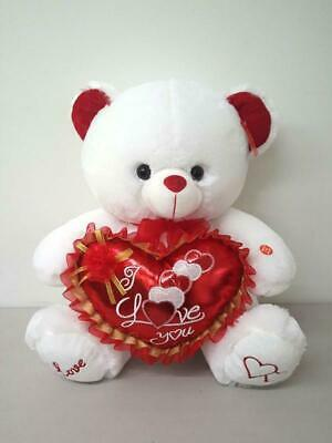 "WHITE Valentine 15"" CUTE Bear Says ""I LOVE YOU"" When Its Paw  Pressed & Light up"