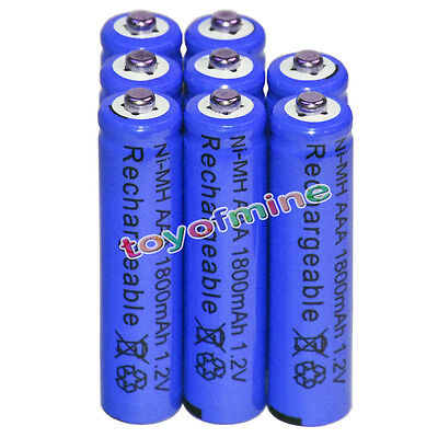8x AAA battery batteries Bulk Nickel Hydride Rechargeable NI-MH 1800mAh 1.2V Blu