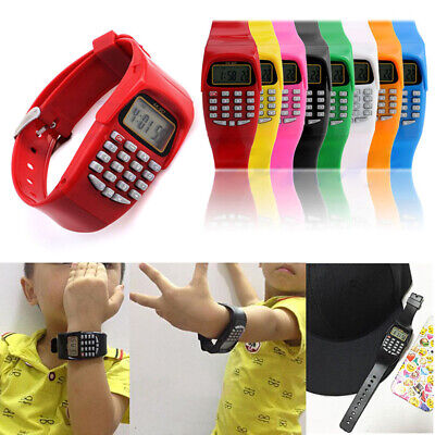 LED Silicone Sports watch For Kids Children Multifunction Calculator Wristwatch