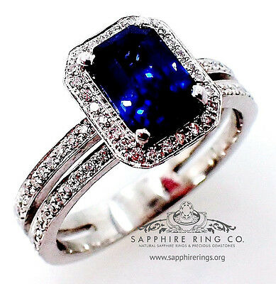 GIA Certified Platinum 2.29 tcw Blue Emerald Cut Ceylon Sapphire & Diamond Ring