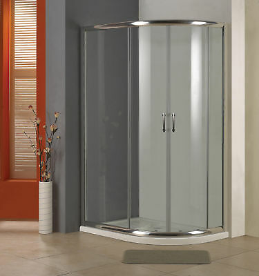VIENNA 900 x 800 DOUBLE SLIDING OFFSET QUADRANT SHOWER ENCLOSURE 6MM GLASS