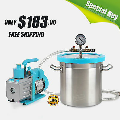 3 Gallon Stainless Vacuum Chamber 7 CFM 1/2HP 1 Stage Vacuum Pump Degassing Kit