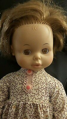 "Vtg 21"" EEGEE Softina Drink & Wet Baby Doll 1973"