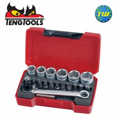 Teng 19pc 1/4in Drive Mini Socket Tool Set with Ratchet Handle T1419
