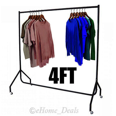 4ft Clothes Rail Garments Display Metal Wheel Rack Hanging Storage Heavy Duty