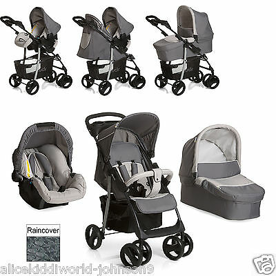 New Hauck shopper SLX Trio Travel System pushchair Carrycot Carseat Stone/Grey