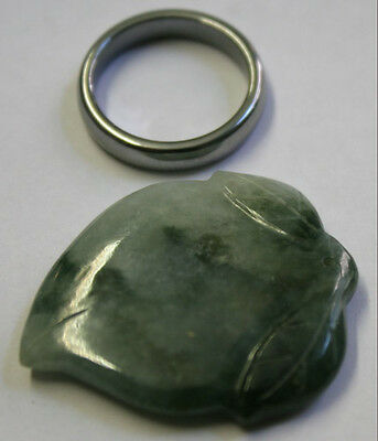 Natural Green Jade Loose Gemstone 30X36Mm Hand Carved Leaf 57Ct Gem Ja56