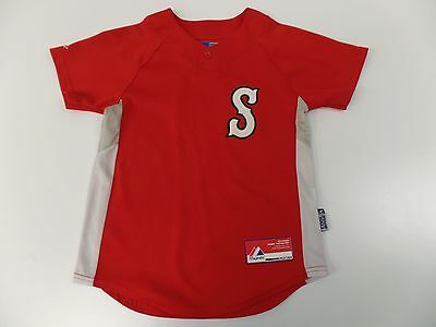 Majestic Baseball Jersey #8 Cool Base Short Sleeve Polyester Red Youth Size M