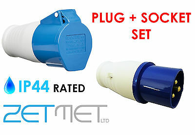 16A 3 Pin Blue Plug & Trailing Coupler Socket IP44 Camping Site Caravan Hook Up