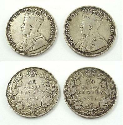 1918 and 1919 Canada Fifty / 50 Cents Silver Coins - King George V
