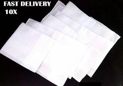 "10 Pack White Men Handkerchiefs 100% Cotton 37cm 14.5""Square Super Soft Washable"