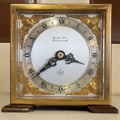 Quality Elliott of London Mantel Clock In Mahogany Case With Brass Bezzle