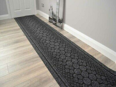 New Black Heavy Duty Nonslip Rubber Back Hall Runners Extra Long Narrow Rugs Mat