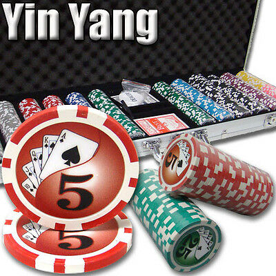 NEW 600 PC  Yin Yang 13.5 Gram Clay Poker Chips Set Aluminum Case Pick Chips