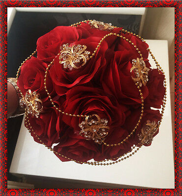 Brides Wedding Bouquet Red Roses with Gold brooches and pearls Indian Asian