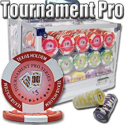 NEW 600 Tournament Pro 11.5 Gram Clay Poker Chips Set Acrylic Case Pick Chips