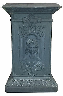 Pair large Vintage Cast Iron Pedestals with Italian Medusa and Cherubs Restored