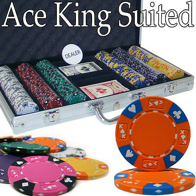 NEW 300 PC Ace King 14 Gram Clay Suited Poker Chips Set Aluminum Case Pick Chips