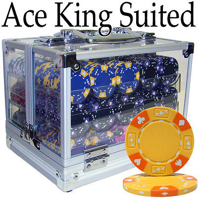 NEW 600 Pc Ace King 14 Gram Clay Suited Poker Chips Set Acrylic Case Pick Chips