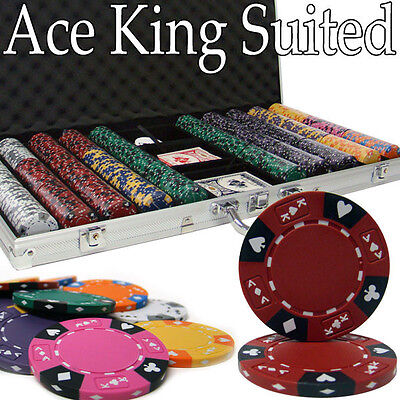NEW 750 Pc Ace King 14 Gram Clay Suited Poker Chips Set Aluminum Case Pick Chips