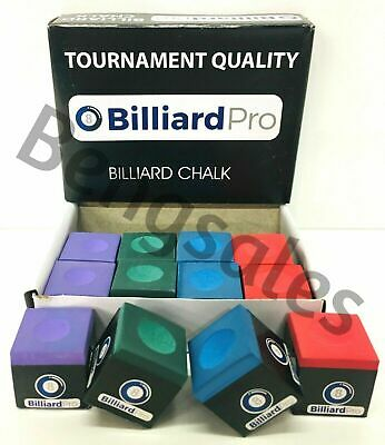"12 Pieces 1 ""BOX"" of Mixed GREEN,BLUE,RED,PURPLE Snooker or Pool Cue Tips Chalks"