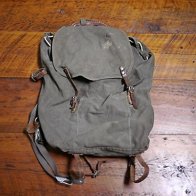 Vintage SWEDISH MILITARY Army Green Canvas Leather Straps Rugged Backpack Bag