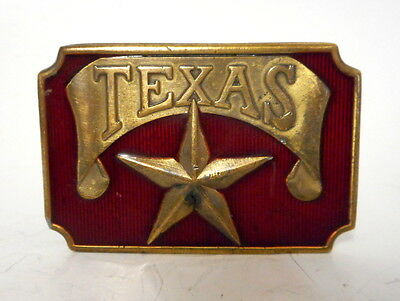 Vintage Texas Star Belt Buckle Red Brass Country Cowboy Indie Cowgirl Texan